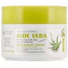 Aloe Excellence - Aloe Vera With Olive Oil Moisturing Face & Body Creme 300ml Dose hergestellt auf Gran Canaria - LAGERWARE