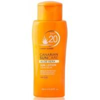 Canarian Suncare - Aloe Vera Sun Lotion SPF 20 Sonnencreme Lichtschutzfaktor 20 200ml hergestellt auf Gran Canaria