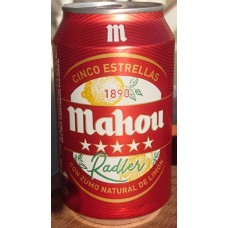 Mahou - Cinco Estrellas Radler Cerveza Bier mit Zitronenlimonade 3,2% Vol. 6x330ml Dose hergestellt auf Teneriffa - LAGERWARE