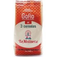 Gofio La Molineta - Gofio de 3 Cereales Trigo, Millo y Cebada Tueste Natural 3-Sorten-Gofio geröstetes Mehl 500g hergestellt auf Teneriffa