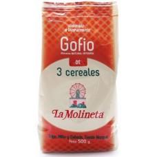 Gofio La Molineta - Gofio de 3 Cereales Trigo, Millo y Cebada Tueste Natural 3-Sorten-Gofio geröstetes Mehl 500g hergestellt auf Teneriffa - LAGERWARE MHD: 01.02.2021