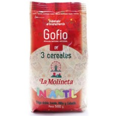 Gofio La Molineta - Gofio de 3 Cereales Doble Tueste Infantil geröstetes Dreikornmehl für Kinder 500g hergestellt auf Teneriffa - LAGERWARE MHD: 01.04.2021