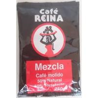 Cafe Reina - Mezcla Molido 50% Tueste Natural 50% Torrefacto Kaffee gemahlen 250g Tüte hergestellt auf Teneriffa