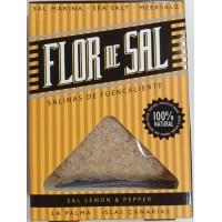 Salinas de Fuencaliente - Flor de Sal Lemon & Pepper kanarisches Aroma-Meersalz Zitrone & Pfeffer 120g hergestellt auf La Palma