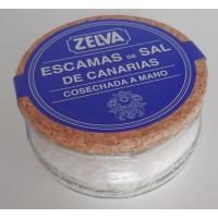 Zelva - Escamas de Sal de Canarias cosechada de mano kanarisches Meersalz grob 100g Glas hergestellt auf Gran Canaria