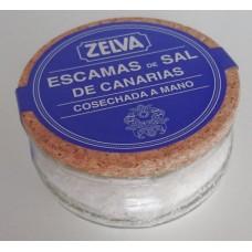 Zelva - Escamas de Sal de Canarias cosechada de mano kanarisches Meersalz grob 100g Glas hergestellt auf Gran Canaria - LAGERWARE