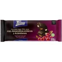 Tirma - Chocolate Negro 53% Cacao con Almendras enteras y Arandanos dunkle Tafelschokolade 170g hergestellt auf Gran Canaria