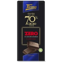 Tirma - Chocolate Negro 70% Cacao ZERO sin Azucar dunkle Schokolade zuckerfrei 75g hergestellt auf Gran Canaria