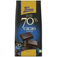Tirma - Chocolate Negro 70% Cacao Minis dunkle Schokolade 14x 15g 210g Tüte hergestellt auf Gran Canaria