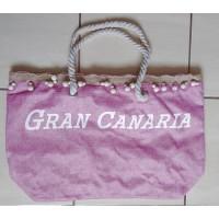 Dulcinea Heredia Strandtasche Gran Canaria rosa mit weißem Aufdruck 50x15x35cm HX22007-60 Polyester - LAGERWARE
