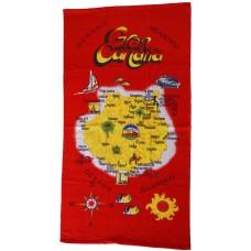 Strandtuch Handtuch Toalla 70x140cm Karte Gran Canaria rot gelb - LAGERWARE