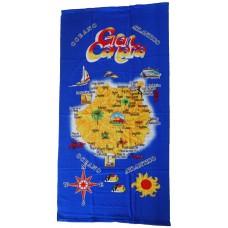 Strandtuch Handtuch Toalla 70x140cm Karte Gran Canaria blau gelb - LAGERWARE