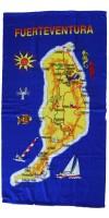 Strandtuch Handtuch Toalla 70x140cm Karte Fuerteventura blau gelb - LAGERWARE