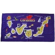 Strandtuch Handtuch Toalla 70x140cm Karte Islas Canarias gelb Hintergrund lila - LAGERWARE