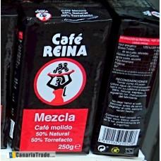 Cafe Reina - Mezcla Molido 50% Tueste Natural 50% Torrefacto Kaffee gemahlen 250g hergestellt auf Teneriffa - LAGERWARE