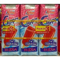 Kalise - Clipper Polo Fresa Erdbeerlimonaden-Eis zum selber einfrieren 3x 250ml Tetrapack hergestellt auf Gran Canaria