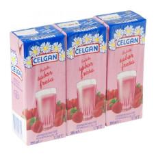 Celgan - Leche Batido Sabor Fresa Erdbeermilch 3er-Pack 3x 200ml hergestellt auf Teneriffa
