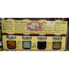 Argodey Fortaleza - Set Pack de Mini 4x 60g Glas Crema de Platano, Melaza de Cana, Mojo de Aguacate, Mojo Rojo hergestellt auf Teneriffa