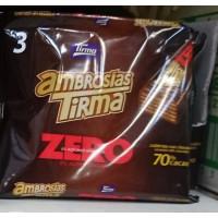 Tirma - Ambrosias Zero 0% Sugar 70% Cacao Bitterschokolade-Waffelriegel 3 Stück 64,5g hergestellt auf Gran Canaria