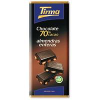 Tirma - Chocolate 70% cacao Almendras enteras Dunkle Schokolade mit Mandeln 125g hergestellt auf Gran Canaria