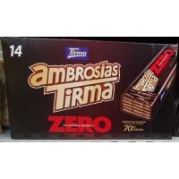Tirma - Ambrosias Zero 0% Sugar 70% Cacao Bitterschokolade-Waffelriegel 14 Stück 310g hergestellt auf Gran Canaria
