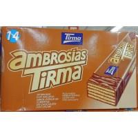 Tirma - Ambrosias Avellana Schoko-Waffelriegel mit Haselnuss 14x 21,5g hergestellt auf Gran Canaria - LAGERWARE - MHD: 31.06.19
