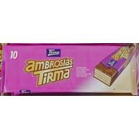 Tirma - Ambrosias Tradicional Chocolate Waffelriegel mit Schokoladenüberzug 10 Stück 215g hergestellt auf Gran Canaria