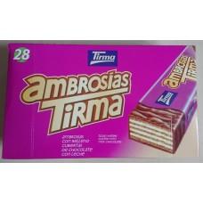 Tirma - Ambrosias Tradicional Chocolate Waffelriegel mit Schokoladenüberzug 28 Stück hergestellt auf Gran Canaria - LAGERWARE