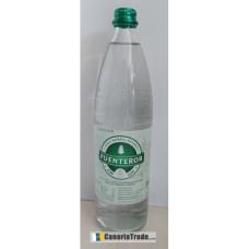Fuenteror - Agua con gas Mineralwasser mit Kohlensäure 1l Glasflasche Schraubverschluß hergestellt auf Gran Canaria